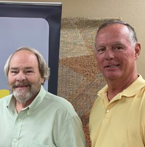 Pat Pence and Jeff Wilbert meeting at CFSEK to discuss the new Knights of Columbus Endowment Fund.